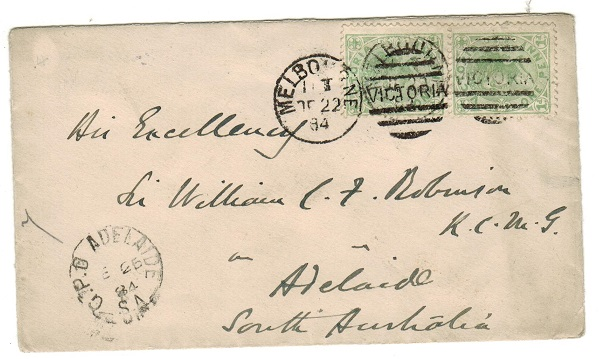AUSTRALIA (Victoria) - 1884 2d rate cover addressed locally from MELBOURNE.