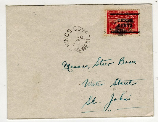 NEWFOUNDLAND - 1920 3c/15c surcharge cover used locally at KINGS COVE.