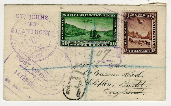 NEWFOUNDLAND - 1931 registered first flight cover to UK.