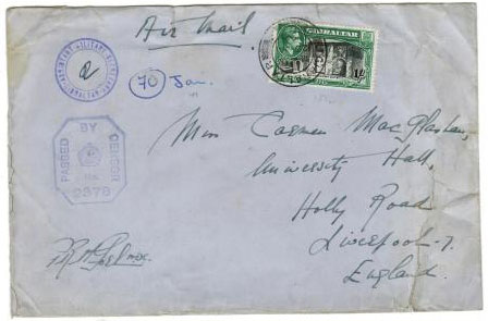 GIBRALTAR - 1941 Assistant Military Secretary censored cover.