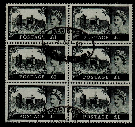 GREAT BRITAIN - 1959 £1 black used block of six.  SG 598.