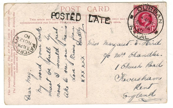 NATAL - 1910 1d rate postcard use to UK from DURBAN struck
