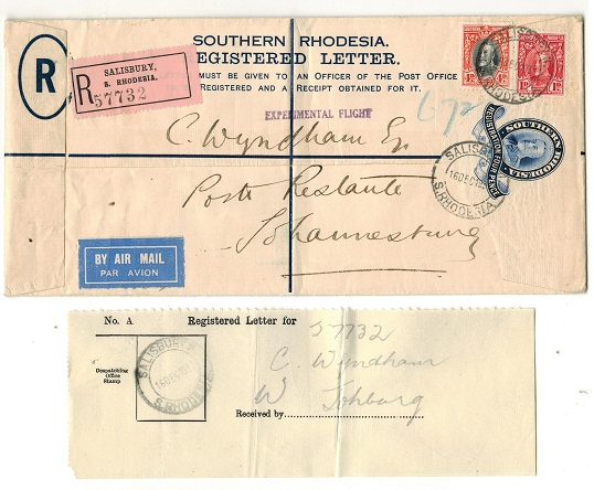 SOUTHERN RHODESIA - 1931 4d dark blue RPSE sent on the Imperial Airways EXPERIMENTAL FLIGHT. H&G 2a.