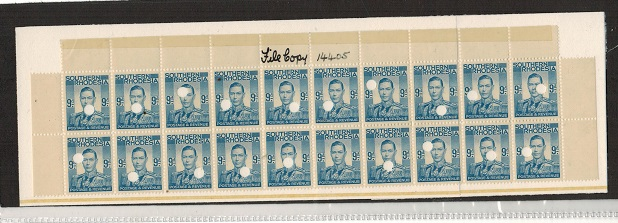 SOUTHERN RHODESIA - 1937 9d pale blue official proof block of 20 marked
