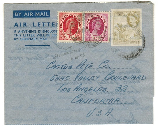 SOUTHERN RHODESIA - 1953 6d olive air letter to USA with Rhodesia and Nyasaland stamps added. H&G 8.