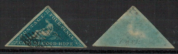 CAPE OF GOOD HOPE - 1853 4d deep blue on blued paper used.  SG 2.