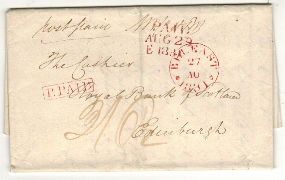 GREAT BRITAIN - 1831 entire to Edinburgh cancelled BELFAST with P.PAID h/s in red.