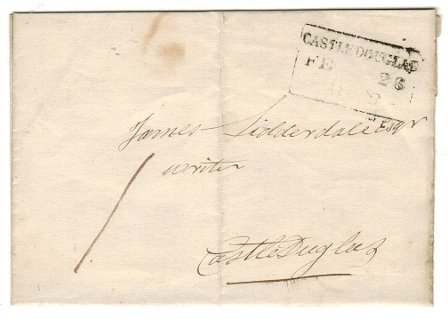 GREAT BRITAIN - 1843 local entire struck by black boxed CASTLE DOUGLAS/PAID h/s.
