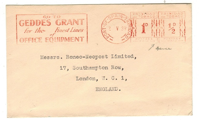 TRINIDAD AND TOBAGO - 1939 1/2d + 1d red meter mark cover to UK.