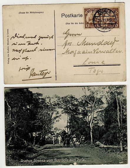 CAMEROONS - 1915 1/2d on 3pfg (x2) use on censored postcard to Togo used at DUALA.