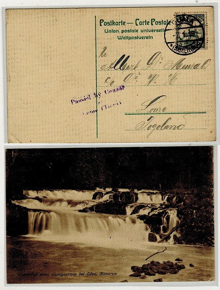 CAMEROONS - 1916 1/2d on 5pfg censored postcard use to Togo used at DUALA.
