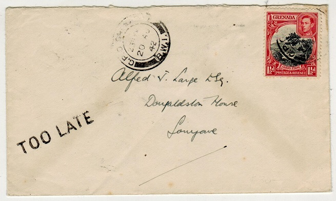 GRENADA - 1942 1 1/2d local rate cover with
