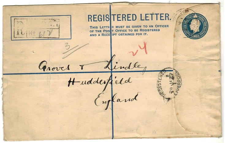 GAMBIA - 1924 3d + 1 1/2d dark blue RPSE cancelled T.P.O./RIVER GAMBIA.  H&G 5b.