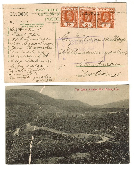 CEYLON - 1915 6c rate censored postcard use to Holland used at COLOMBO.