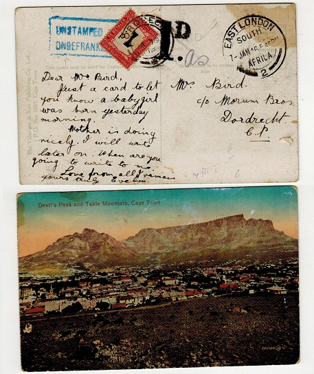 SOUTH AFRICA - 1916 unpaid postcard with UNSTAMPED h/s and 1d