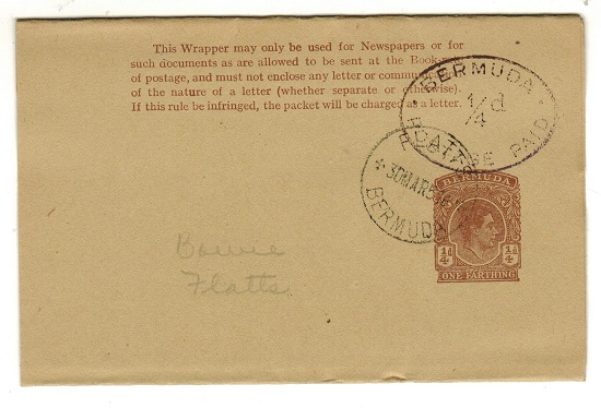BERMUDA - 1950 1/4d brown postal stationery wrapper h/s