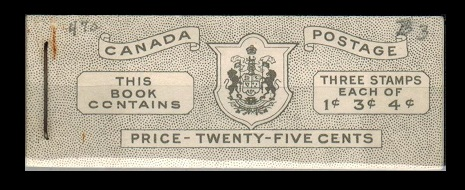 CANADA - 1943-46 25c black on white BOOKLET with English text.  SG SB42.