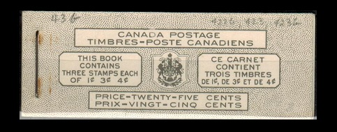 CANADA - 1946 25c black on white BOOKLET with bilingual text.  SG SB42c.