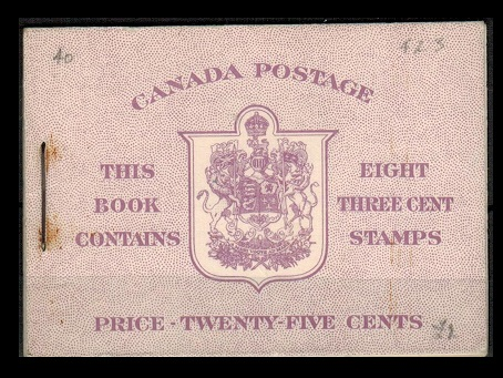 CANADA - 1950 25c purple BOOKLET with English text and stapled at left.  SG SB44.
