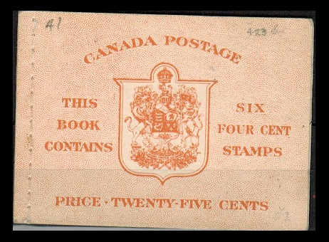 CANADA - 1950 25c orange BOOKLET  of six of the 4c  with English text stiched at left.  SG SB45a.