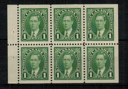 CANADA - 1937 1c green BOOKLET PANE of six in unmounted mint condition.  SG 357b.