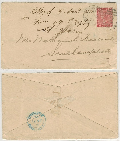 BERMUDA - 1884 1d rate local cover to Southampton cancelled by