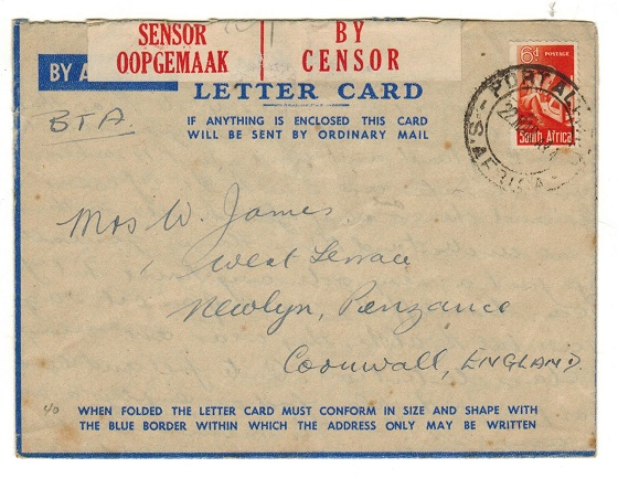 SOUTH AFRICA - 1944 censored LETTER CARD to UK used at PORT ALICE.