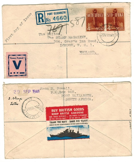 SOUTH AFRICA - 1941 8d registered cover to UK with