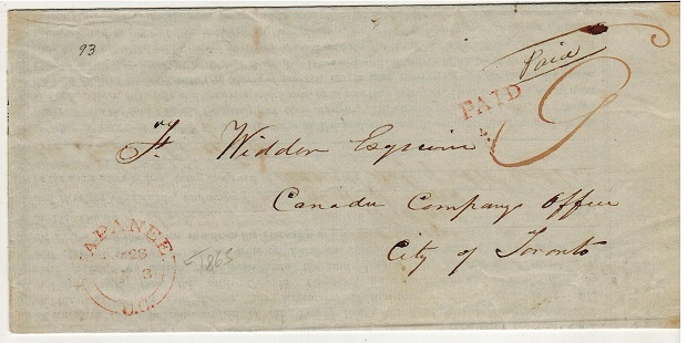 CANADA - 1863 local use of Indenture cancelled NAPANEE/U.C. in red.