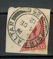GIBRALTAR - 1912 1d (SG 77) DIAGONALLY BI-SECTED for 1/2d Xmas mails.