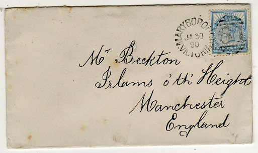 AUSTRALIA (Victoria) - 1890 6d rate cover to UK used at MARYBOROUGH.