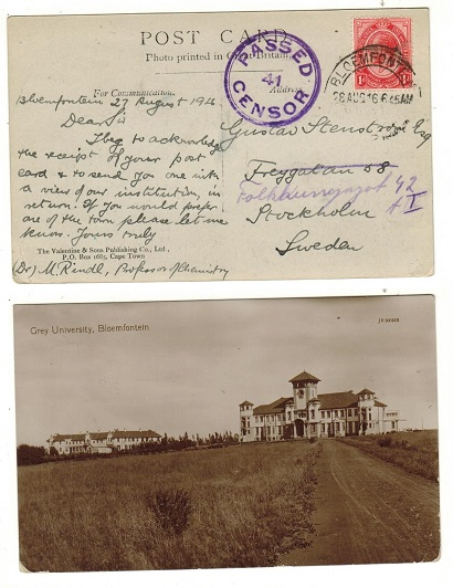 SOUTH AFRICA - 1916 1d rate postcard use to Sweden with PASSED/41/CENSOR h/s applied.