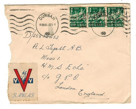 SOUTH AFRICA - 1941 1 1/2d rate cover to UK with