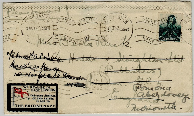 SOUTH AFRICA - 1942 1 1/2d rate cover to UK with WE REALISE IN EAST LONDON patriotic label applied.