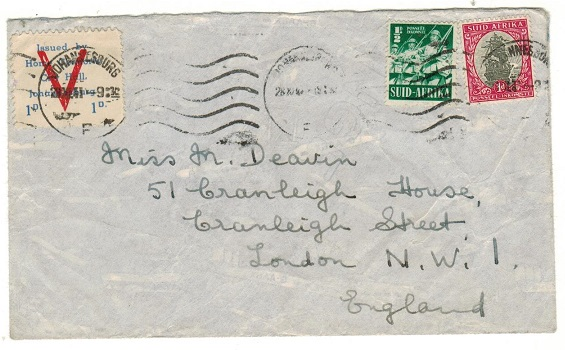 SOUTH AFRICA - 1941 1 1/2d rate cover to UK with 1d/HOME COMFORT patriotic label.