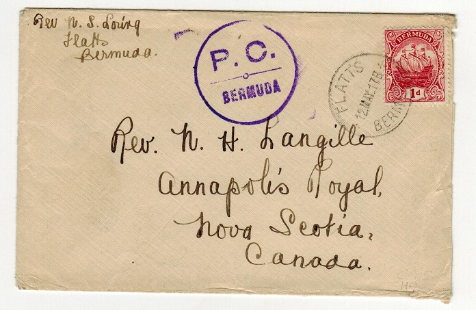 BERMUDA - 1917 1d rate cover to Canada used at FLATTS with