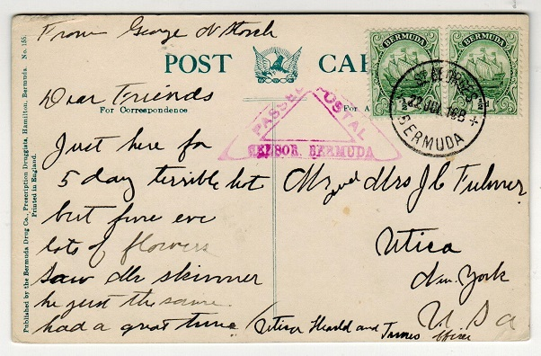 BERMUDA - 1916 1d rate censored postcard use to USA used at ST.GEORGES.