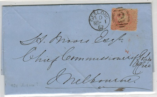 AUSTRALIA (Victoria) - 1862 4d rate local cover used at GEELONG.