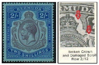 BERMUDA - 1927 2/- fine mint with BROKEN CROWN AND SCROLL variety.  SG 88b.
