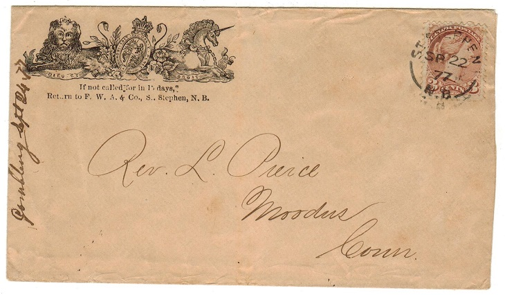 CANADA - 1877 3c cover to USA used at ST.STEPHEN/N.B.