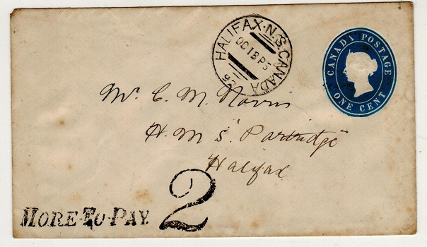 CANADA - 1877 1c blue PSE used locally at HALIFAX with