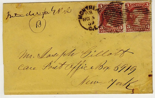 CANADA - 1899 6c rate cover to USA used at MONTREAL.