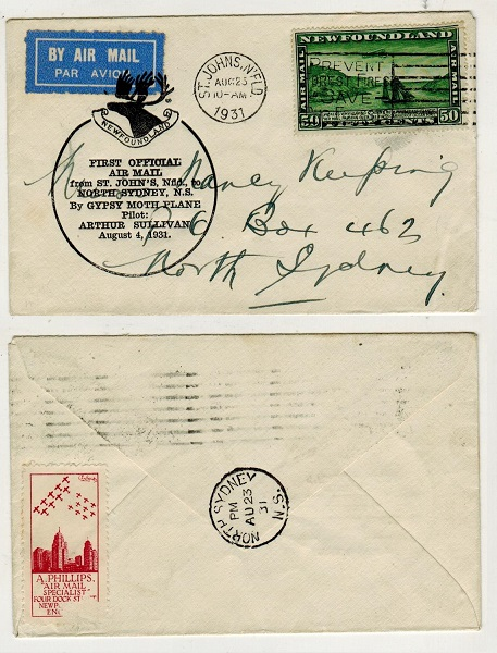 NEWFOUNDLAND - 1931 first flight cover to North Sydney.