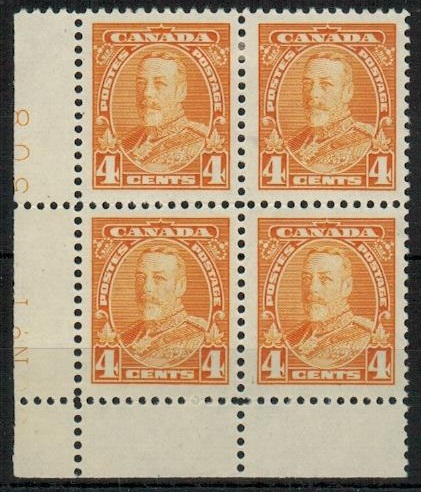 CANADA - 1935 4c yellow fine mint plate No.1/508  block of four.  SG 344.