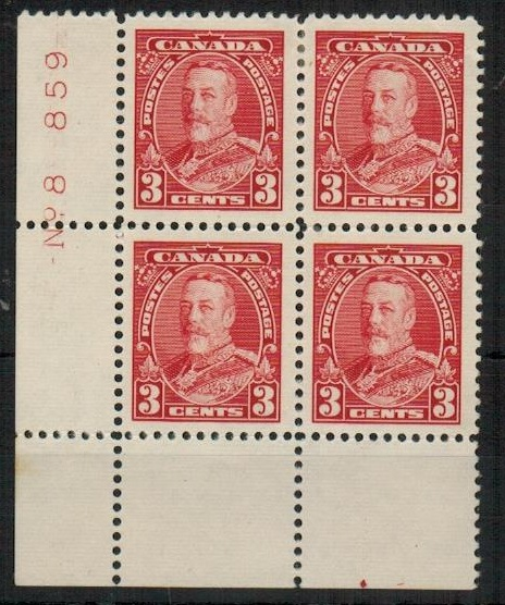 CANADA - 1935 3c scarlet fine mint plate No.8/859  block of four.  SG 343.