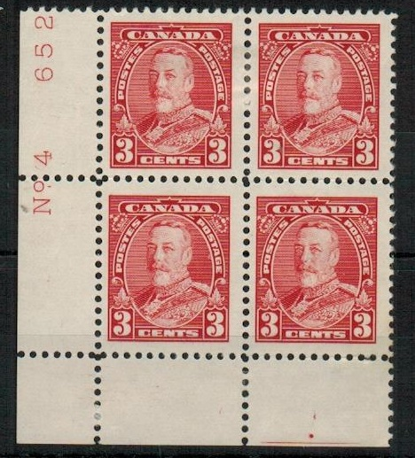 CANADA - 1935 3c scarlet fine mint plate No.4/652  block of four.  SG 343.