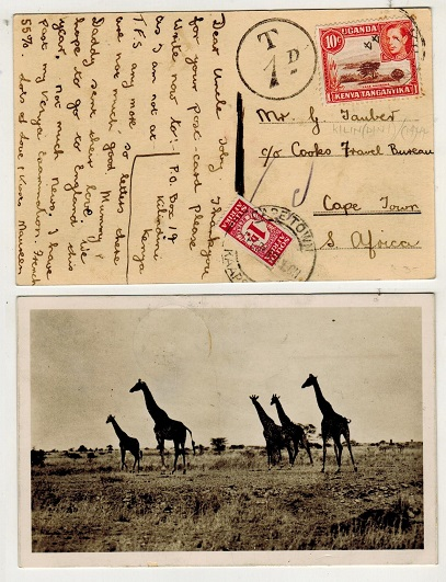 SOUTH AFRICA - 1944 inward under paid postcard from Kenya with 1d bantam added as