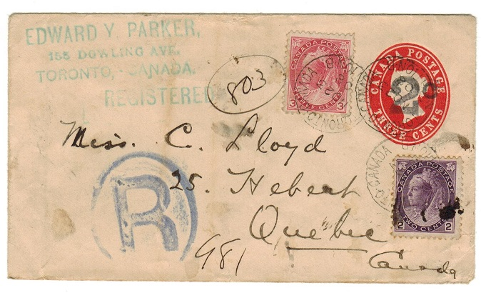CANADA - 1899 2c on 3c red PSE uprated and registered to Quebec used at TORONOTO.  H&G 13.