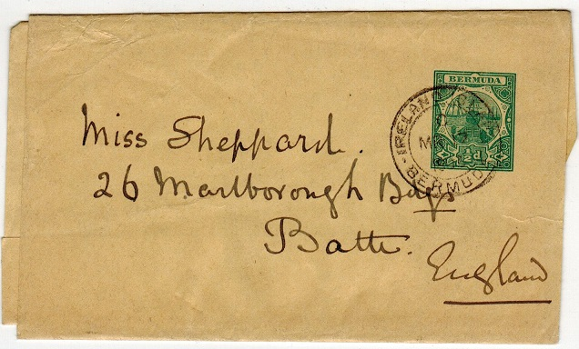 BERMUDA - 1903 1/2d green postal stationery wrapper to UK used at IRELAND ISLAND.  H&G 2.