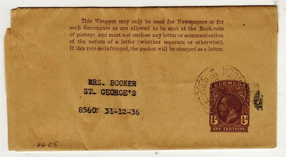 BERMUDA - 1913 1/4d brown postal stationery wrapper used locally from ST.GEORGES.  H&G 5.